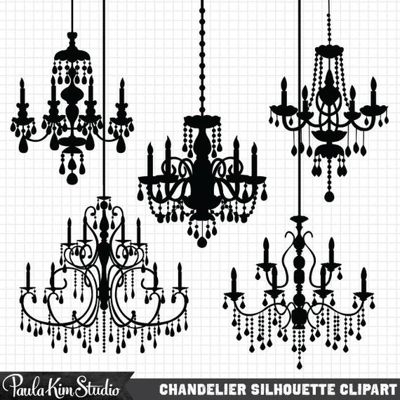 Chandelier Clipart Silhouettes, Silhouette Clipart, Chandelier Clip Art,  Wedding Invitation Clipart, Commercial Use.