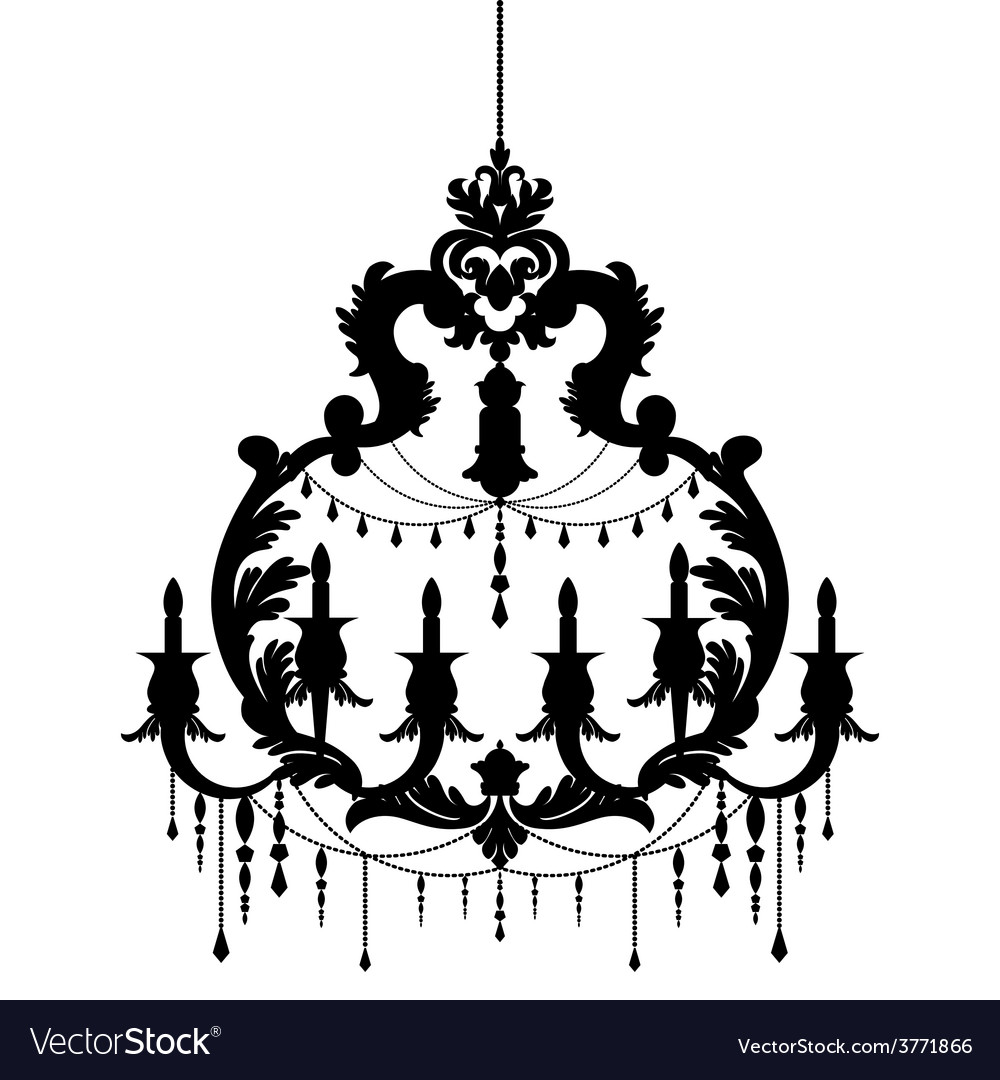 Chandelier silhouette isolated on White background.