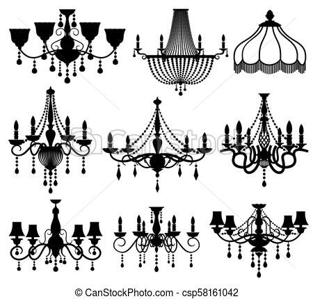 Classic crystal glass antique elegant chandeliers black vector silhouettes.