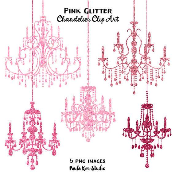 80% OFF SALE Pink Glitter Chandelier Clip Art, Sparkling Glitter.