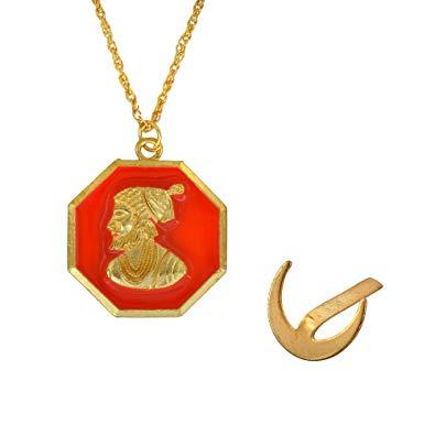 Memoir Gold Plated Shivaji Maharaj Maratha Chain Pendant with.