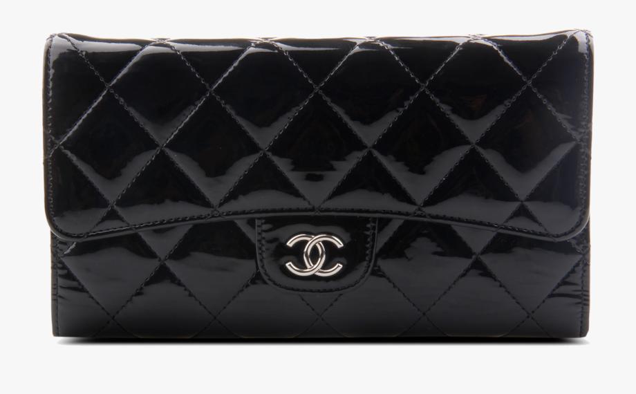 Patent Leather Purse Wallet Black Handbag Chanel.