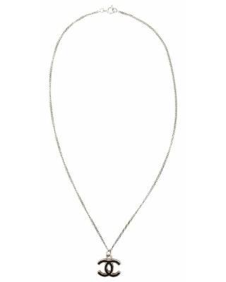 Chanel Cc Silver Metal Necklace.