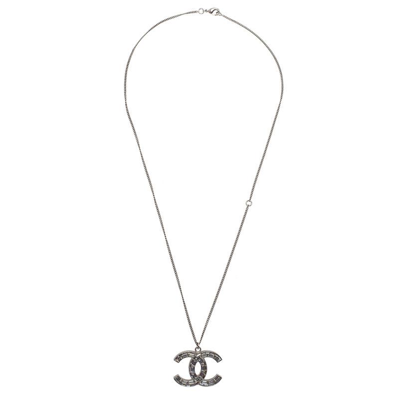 Chanel CC Crystal Silver Tone Pendant Necklace.