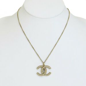 Details about Auth CHANEL CC Imitation pearl Chain Necklace Gold Accessory  Italy B17V 33EP206.