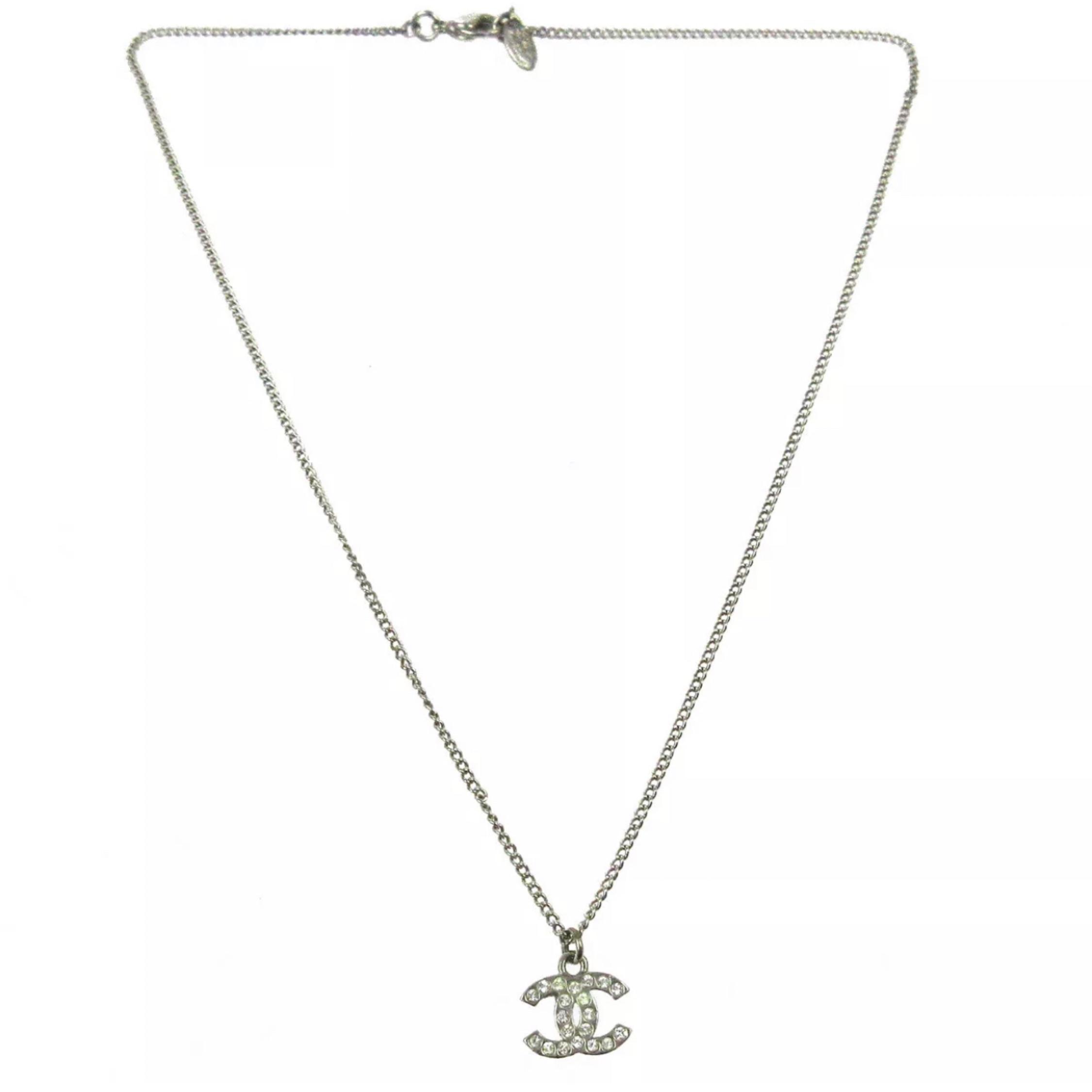 Chanel Cc Logos Rhinestone Necklace Pendant.