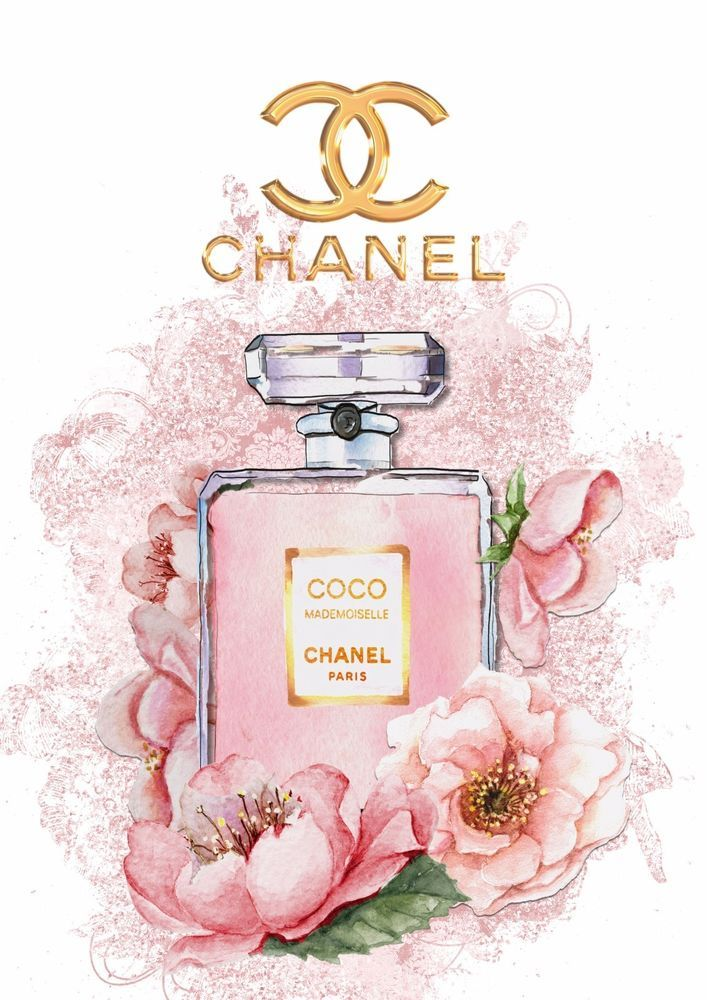 Coco Chanel Perfume Wall Art Plaque Shabby Chic Roses Chanel.