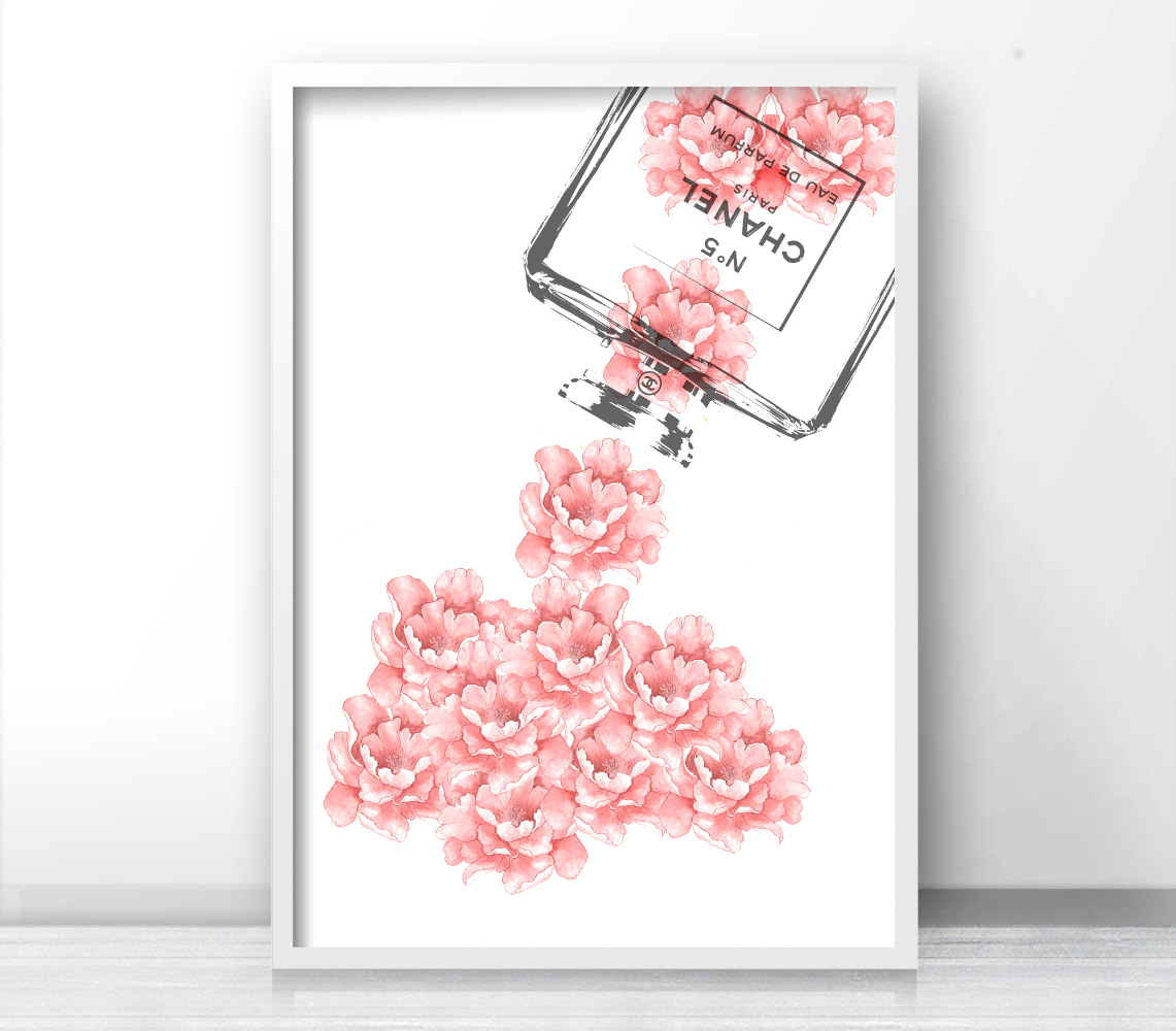 Inspired Coco Chanel Logo, Pink Flowers, Bottle Perfume Chanel, Fashion  Print, Typography Gallery Wall Art, Print Bottle, Fashion Poster. 92.