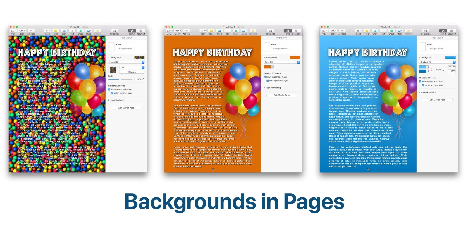 How to change background color in Pages.