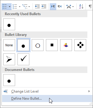 Create custom bullets with pictures or symbols.