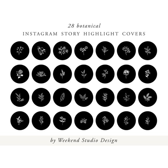 Instagram story highlight icon covers, black, botanical hand.