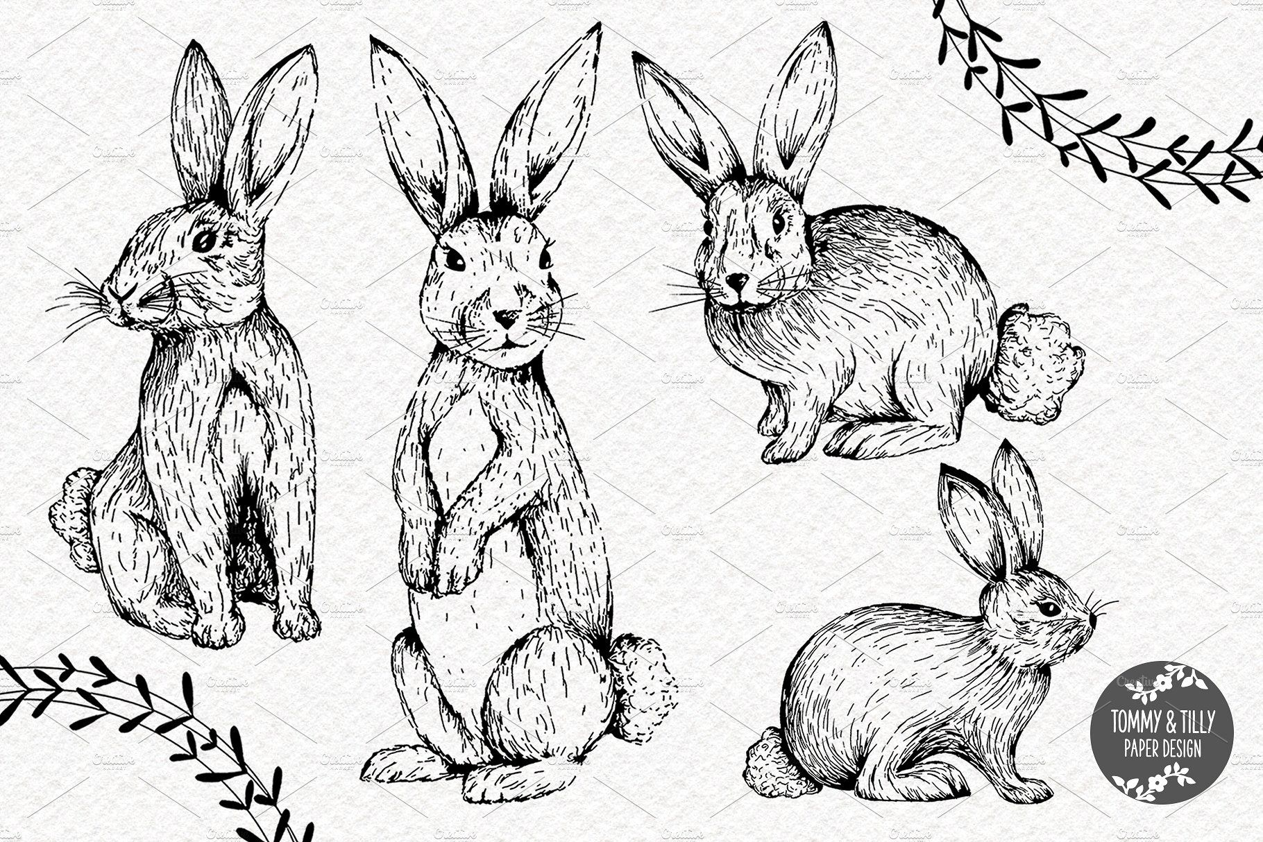 Hand Drawn Rabbits.