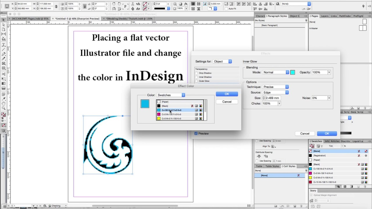 Trick to change color of flat placed vector file in InDesign.