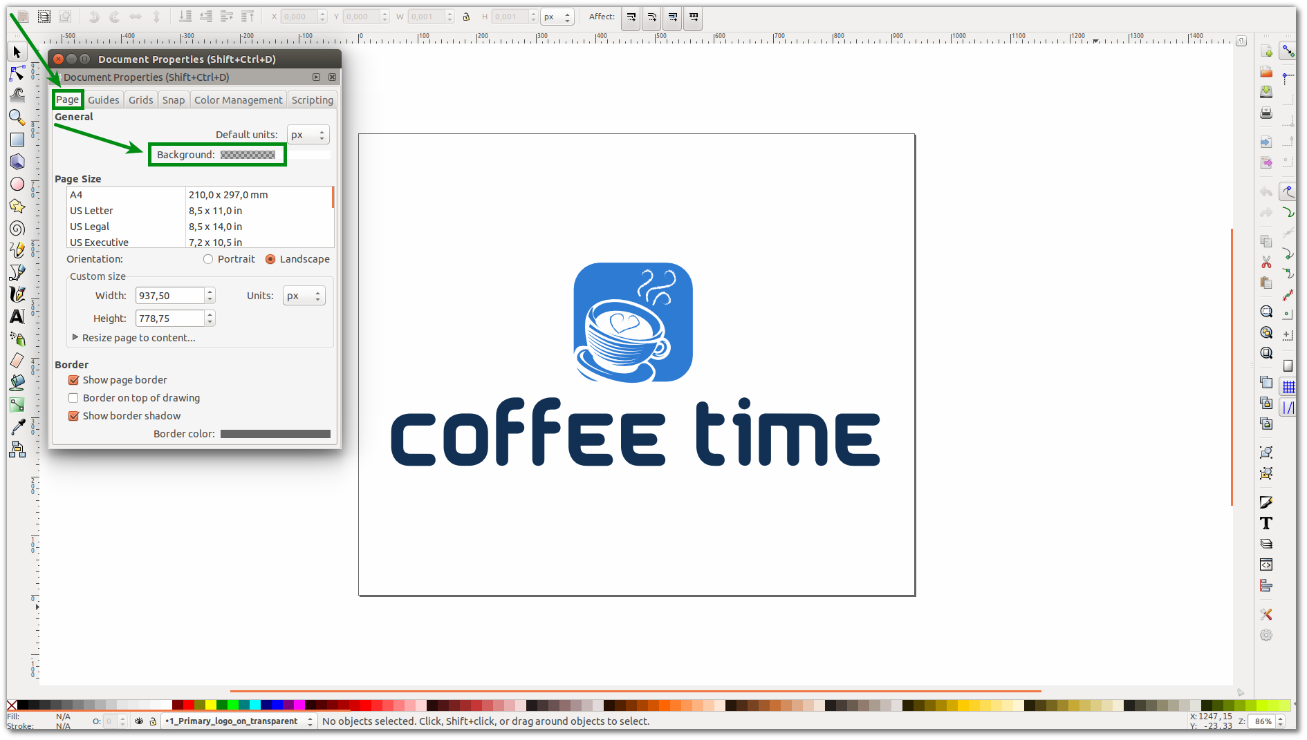 How to change the background of logo via Inscape or Photoshop.