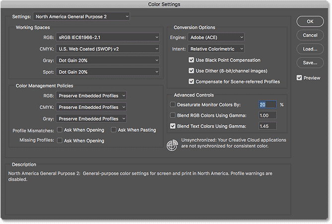 Photoshop Essential Color Settings.