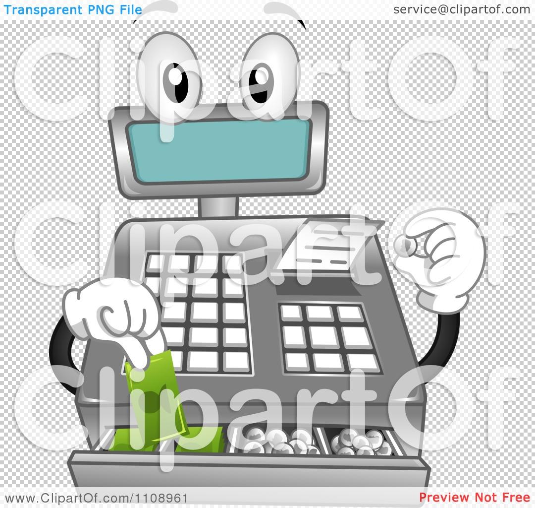 Clipart Cash Register Mascot Getting Change.