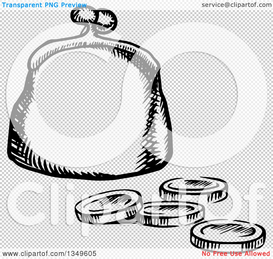 Clipart of a Black and White Sketched Coin Purse and Change.