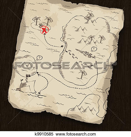 Clipart of Treasure map on wooden background. Map under mask, you.