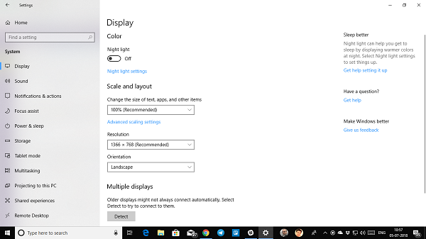 Can't change Screen Resolution in Windows 10.