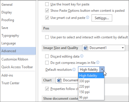 Change the default resolution for inserting pictures in Office.