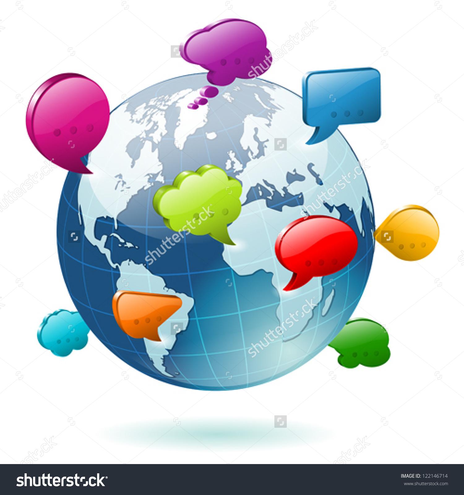 Social Media Concept Earth Icons Speech Stock Vector 122146714.