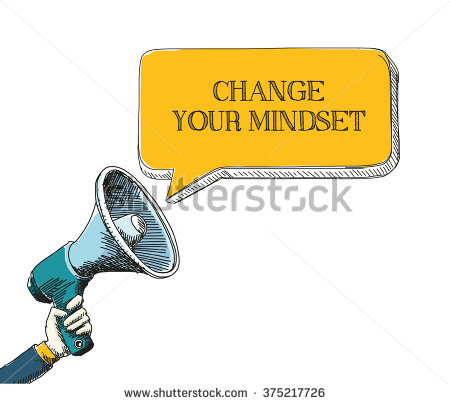 Change Your Mindset Word In Speech Bubble With Sketch Drawing.
