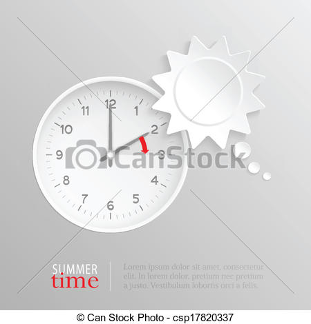 Vectors of Summer time change clock with sun speech bubble.
