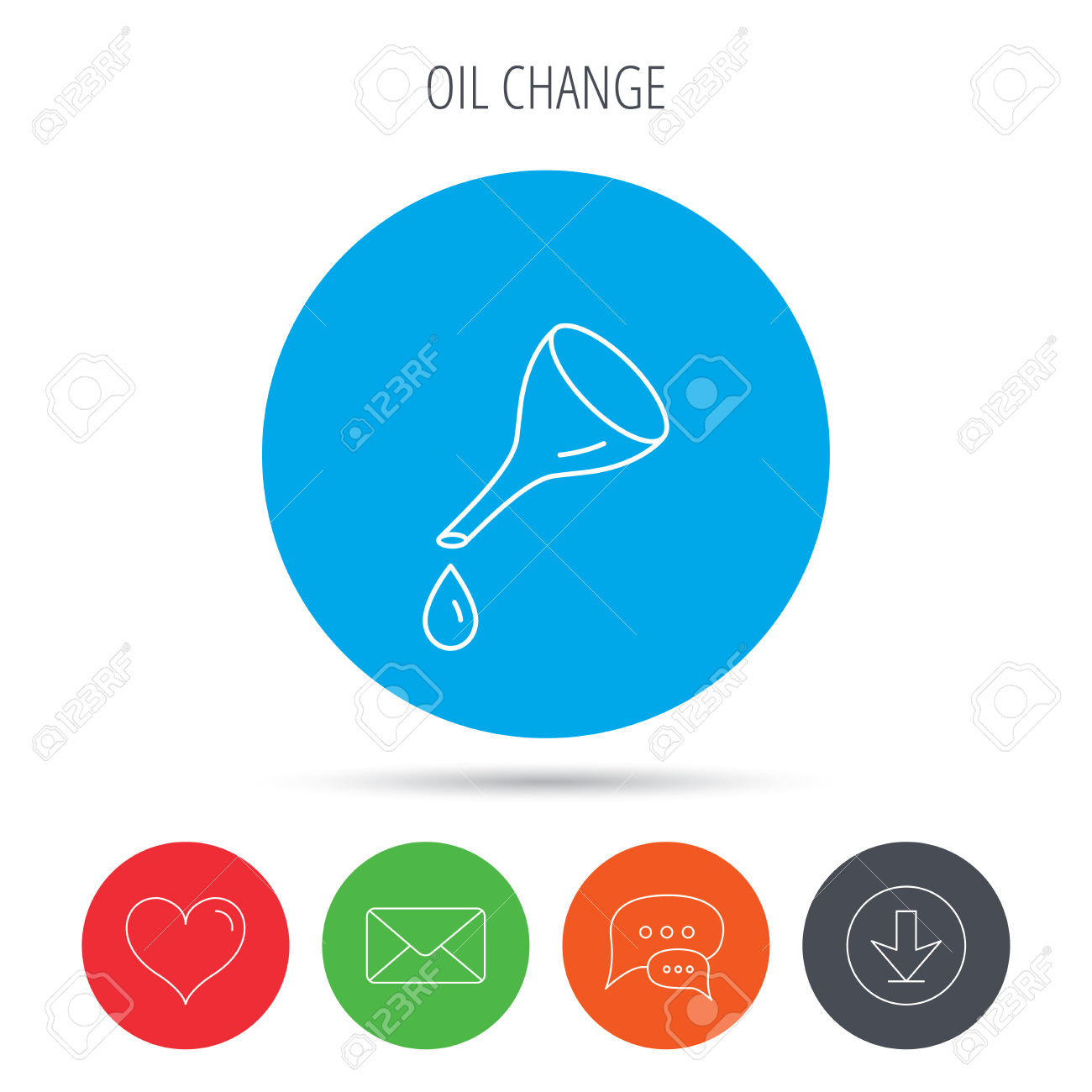 Oil Change Service Icon. Fuel Can With Drop Sign. Mail, Download.