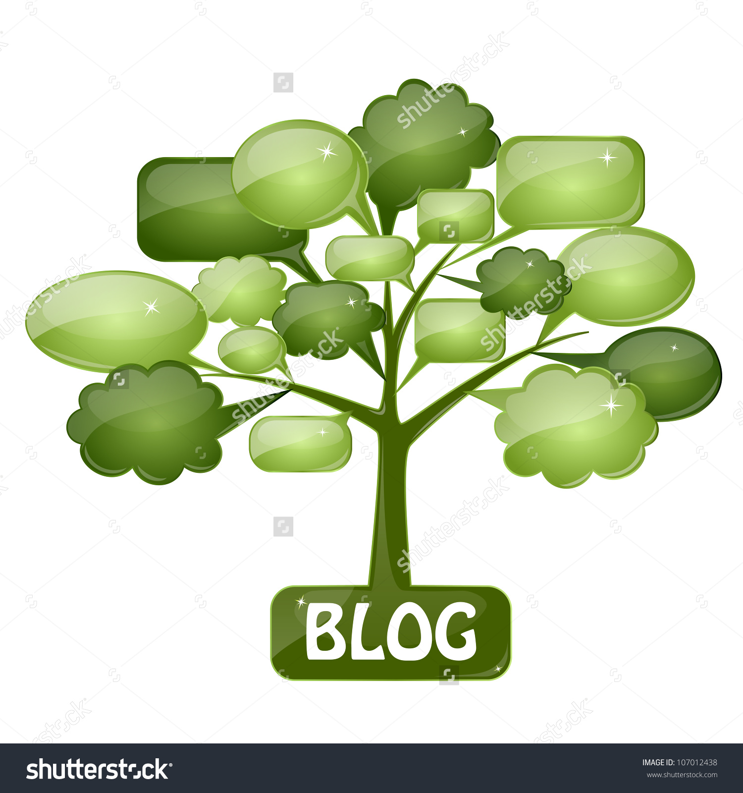 Green Tree With Speech Bubbles As The Icon For Blog Or Forum. You.
