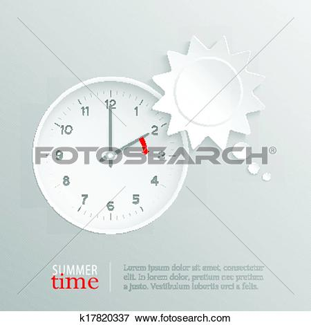 Clip Art of Summer time change clock with sun speech bubble.