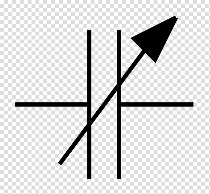 Variable capacitor Electronic symbol Electrical network.