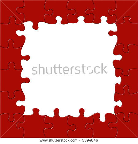 Jigsaw Border Puzzle Background Easy Change Stock Illustration.