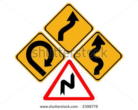 Winding Roads Change Lanes Very Sharp Bend Signs Stock Vector.