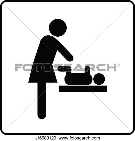 Clipart of Baby Changing Room Sign k16683120.