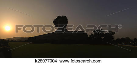 Stock Photo of Silhouette of Chairman Mao statue in Changsha.