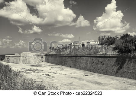 Clip Art of Venetian fortification Walls of Chania, Crete, Greece.
