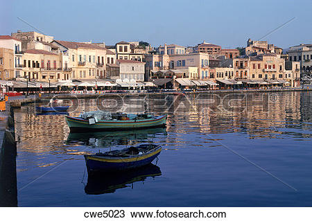 Stock Photo of Port town of Chania (Xhania) on north coast of.