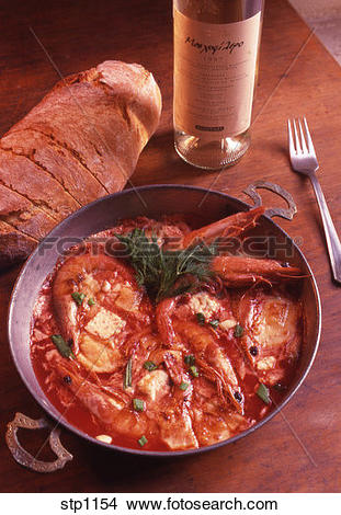 Stock Photo of Greece. Fresh Shrimps cooked in Tomato sauce and.
