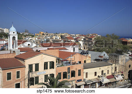 Stock Image of Greece. Crete. Overview of Chania Old Town showing.
