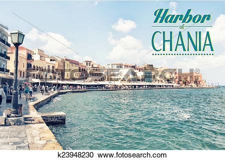 Clipart of Chania on island of Crete, Greece k23948230.