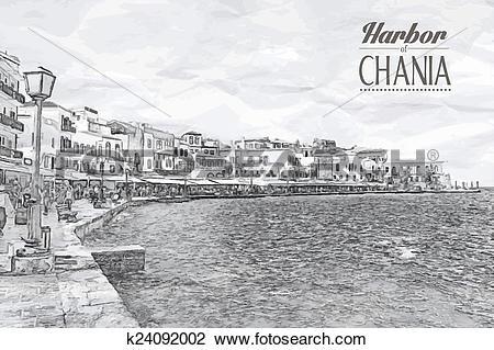 Clipart of Chania on island of Crete, Greece k24092002.