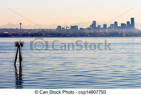 Stock Photographs of Channel Marker Seattle Skyline Puget Sound.