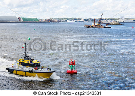 Stock Photos of Yellow Pilot Boat Rounding Red Channel Marker.