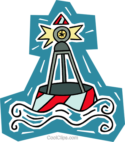 buoy, channel marker Royalty Free Vector Clip Art illustration.