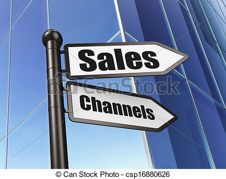 Clip Art of Marketing concept: sign Sales Channels on Building.