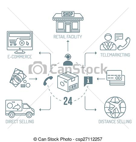 Clipart Vector of dark outline distribution channels finances.