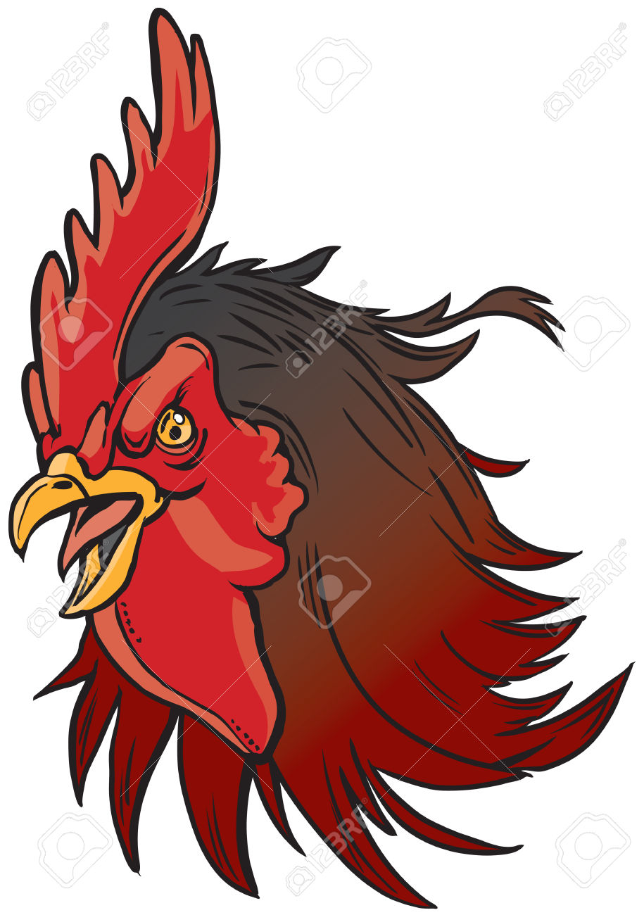 Vector Cartoon Clip Art Illustration Of A Realistic Rooster Or.