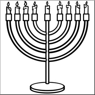 Clip Art: Hanukkah: Menorah B&W I abcteach.com.