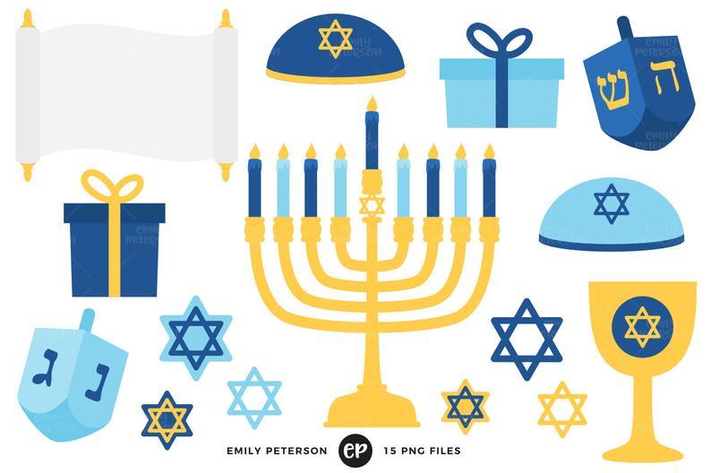 Hanukkah Clip Art, Dreidel Clipart, Menorah Clip Art.