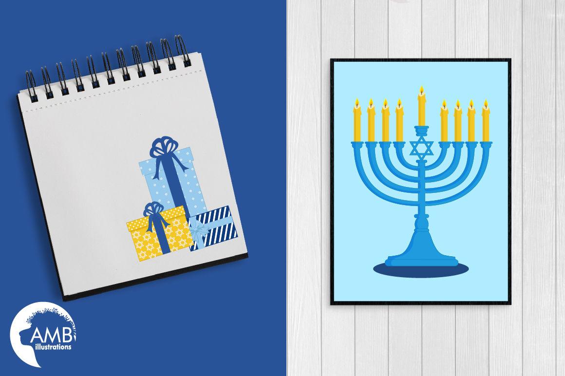 Hanukkah Clipart, Hanukkah Dreidel, Menorah Digital Clipart.